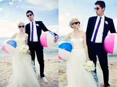 cute pink/blue wedding beach balls