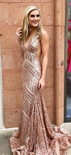 sparkly rose gold sequins memaid long prom dress, 2018 prom dress party dress formal evening dress