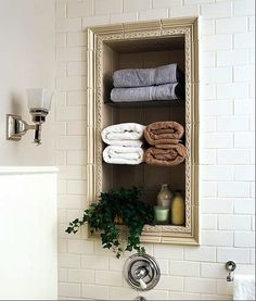 30 Ideas To Use Storage Niches In A Bathroom | Shelterness