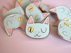 Enamel cat lapel pin - Cat pin Created from my original winking cat face illustration, these super cute enamel pins are perfect for any jacket, Desu Desu, Head Band, Barrettes, Cat Pin, Cat Jewelry, Jewellery, Cool Pins, Pin And Patches, Pin Badges