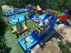 Floating water park and Inflatable Water Park Designer! We build a True Inflatable Water Slide! Give us your Custom Inflatable water park plan.