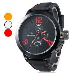 Casual Masculino Estilo Silicone Analógico Relógio de pulso de quartzo (preto) – BRL R$ 25,97