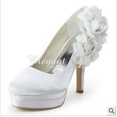 f923904167eb 2012 Dyeable Satin Flower Bridal Wedding Shoes With Platform High Heel  Pumps. Chaussures De Mariage ...