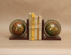 Vintage Globe Bookends- Travel Decor