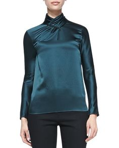 Jason Wu Long-Sleeve Hammered Silk Blouse, Evergreen: Hammered silk satin blouse by Jason Wu. Pleated stand collar with metal detail and back keyhole. Long sleeves. Slim silhouette. Rayon trim.