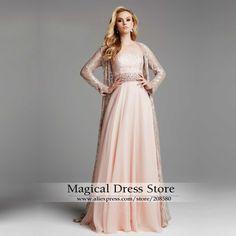 Rosa vestido de noite muçulmano de manga comprida mulheres mãe Formal dos vestidos de noiva Lace Plus Size Prom vestidos pérolas Chiffon T06 em Vestidos de Noite de Casamentos e Eventos no AliExpress.com   Alibaba Group