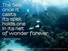 """""""The Sea, once it casts its spell, holds one in its net of wonder forever. Poem Quotes, Poems, Jacques Cousteau, Sea Diving, Photo Backgrounds, Live Life, Spelling, Hold On, It Cast"""