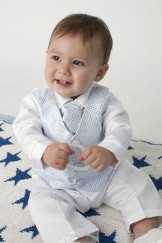 c5f9f98b37 Baby Boys 4 Piece Christening Outfit   Christening Suit Blue White Check.  Roupa De Batismo MeninoRoupa ...