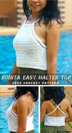 Spring and Summer Crocheted Easy Halter Top for Beginners Free Pattern Knitting . Spring and Summer Crocheted Easy Halter Top for Beginners Free Pattern Knitting PatternsKnitting Fo Crochet Summer Tops, Crochet Halter Tops, Crochet Shirt, Easy Crochet, Diy Halter Top, Beginner Crochet, Crochet Sweaters, Blanket Crochet, Crochet Patron