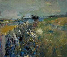 Joan Kathleen Harding Eardley, July Fields.  (1921–1963) Artiste britannique, Écossaise d'adoption, emportée par le cancer avant que son oeuvre puisse gagner la reconnaissance qu'elle méritait, elle est réputée pour ses paysages à la limite de l'abstraction, lumineux et empreints d'une grande énergie.