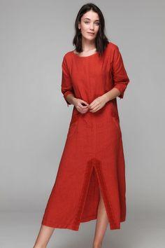 PLS fashion : Φόρεμα λινό μακρύ (8170) Linen Dresses, Outfits