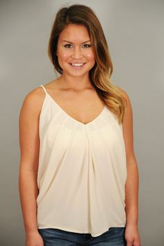 TOPS > Sleeveless > Pleated Chiffon V-Neck Tank