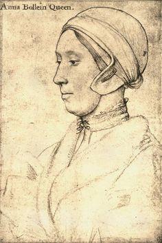 Anne Boleyn, second wife of Henry VIII and mother of Elizabeth I - drawing by Hans Holbein Tudor History, British History, Art History, History Posters, Asian History, History Facts, Anne Boleyn, Die Tudors, Elisabeth I