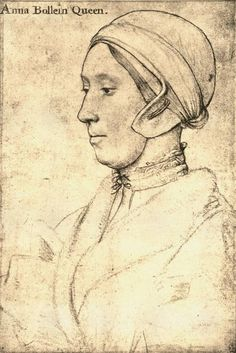 Anne Boleyn, second wife of Henry VIII and mother of Elizabeth I - drawing by Hans Holbein