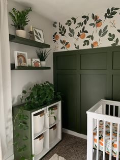 Nursery Inspiration DIY accent wall in nursery - painted wallpaper mural and board and batten. Baby Bedroom, Baby Room Decor, Nursery Room, Kids Bedroom, Nursery Decor, Nursery Ideas, Baby Rooms, Wall Paper Nursery, Teal Bathroom Decor