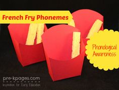 DIY French Fry Box Phonological Awareness Activity (from Pre-K Pages) Letter Activities, Speech Therapy Activities, Preschool Activities, Phonological Awareness Activities, Emergent Literacy, Teaching Shapes, Pre K Pages, Kindergarten Language Arts, Teaching Reading