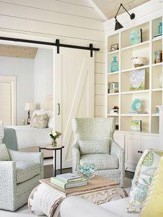 Color Changes Everything: Guest House/white barn door separating bedroom from living room
