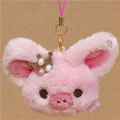 Piggy Girl plush charm pink piggy head with crown