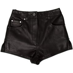 Pre-owned Thomas Wylde Textured Mini Shorts ($145) ❤ liked on Polyvore featuring shorts, black, short shorts, hot pants, high waisted zipper shorts, leather shorts and high waisted hot pants