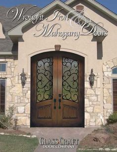 Wrought Iron Wood Doors – This Wood Entry Doors, Wood Exterior Door, Door Entryway, Entrance Doors, Entrance Ways, Door Design, Exterior Design, Interior And Exterior, House Design