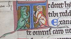 initial T incorporating two cats=Psalter c.1190-1200