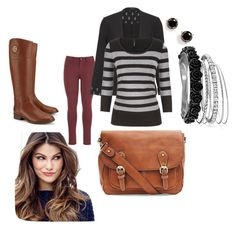 """""""Fall stripes for work"""" by erin-lutts on Polyvore featuring maurices, Avenue, ULTA, Kate Spade and Tory Burch"""