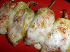 Are you ready to taste AWESOMENESS??? www.losewithskinnyfiber.com   Pepperoni Stuffed Banana Peppers    8 med. size banana peppers  4 oz. cream cheese, room temp.  1/4 C. parmesan cheese  1/2 C. shredded mozzarella cheese  1/4 C. pepperoni, diced  3 T. Italian bread crumbs   Wash the peppers and slice down the middle, gently remove the seeds. Place the peppers on a tin foil lined baking sheet. In a bowl combine cream cheese, parmesan cheese, 1/4 mozzarella cheese, pepperoni and bread crumbs…
