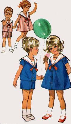1960s Girls Toddler Sailor Dress Boys Nautical Sailor Short Set Vintage 60s Sewing Pattern Simplicity 5853 Size 2 by sandritocat on Etsy