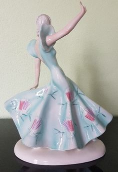 Art Deco ceramic dancer from Goldscheider by Claire Weiss, crafted in Vienna circa for Goldscheider Goldscheider, Vienna, Claire, Dancer, Art Deco, Ceramics, Disney Princess, Crafts, Ceramica