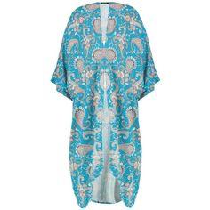 Boohoo Simone Paisley Kimono (200 MXN) ❤ liked on Polyvore featuring outerwear, duster coat, longline duster coat, blue duster coat, longline kimono and blue kimono
