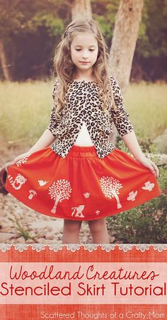 I need a girl so that I can make this stunning woodland creature stenciled skirt.
