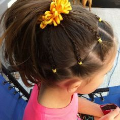 Hairstyles girls Gymnastics meet hair A ginástica encontra o cabelo Baby Girl Hairstyles, Princess Hairstyles, Summer Hairstyles, Easy Hairstyles, Hairstyle Ideas, Hairdos, Hair Ideas, Cheer Hairstyles, Easy Toddler Hairstyles