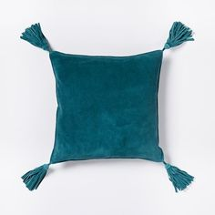 Suede Tassel Pillow Cover - Deep Teal | west elm