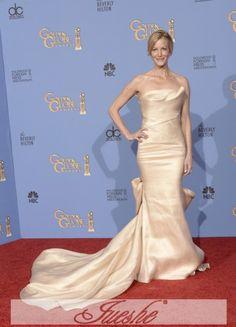 d3db37437a5 Champagne Strapless Mermaid Satin Red Carpet Dress Anna Gunn Worn On Golden  Globe Awards 2014 JSRC0052