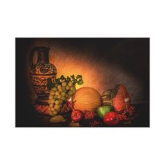 CANVAS still life with autumn fruit and Etruscan ceramic pitcher.
