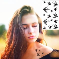 Sexy Swallow Bird Temporary Tattoo Body Art Flash Tattoo Stickers 17*10cm Waterproof Home Decor Car Styling Tatoo Wall Sticker