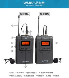 The BOYA BY-WM8 Dual-Channel UHF wireless system is a portable, camera-mountable wireless system for capturing audio with dual subjects. It can be used in several environments for video, field recording, interview, broadcast TV, and ENG applications. Interview, Channel, Audio, Tv, Television Set, Television