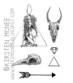Nature+Girl+Temporary+Tattoos+set+//+animal+by+KikiIllustrations,+£4.00