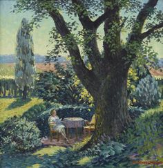RICHARD GIBSON WEDDERSPOON (american 1889-1976) READING IN THE SHADE