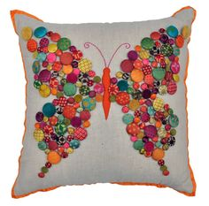 Decorate your home with this beautiful cushion available at the Kaji Stores! Felt Flower Pillow, Felt Pillow, Pillow Fabric, Scrap Fabric Projects, Sewing Projects, Fabric Scraps, Applique Cushions, Sewing Pillows, Kids Pillows