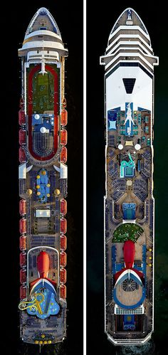 Beautiful aerial photos of cruise ships Carnival Sensation and Carnival Victory