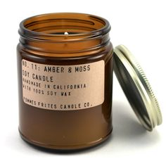 no 11: amber & moss - 7.5 oz soy candle by pommes frites candle co - manly musky scent -hand poured in california apothecary jar