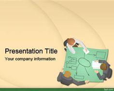 Plantilla PowerPoint de Estrategia de Negocios es un tema de PowerPoint gratis con una imagen de planos y reunión con personas analizando unos planos o diseños