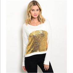 Gold Sequin Top Sequin, sequin and more sequin! Long sleeve top with gold sequin in the front. Made of a cotton blend. Size S,M,L Tops