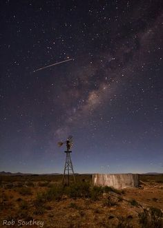 Reason why we love South Africa - a Karoo night sky with a shooting star caught on camera. Beautiful World, Beautiful Places, Out Of Africa, My Land, Le Moulin, Countries Of The World, Stargazing, Windmill, Night Skies