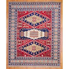 Afghan Hand-knotted Red/ Navy Kazak Wool Rug (8' x 10') | Overstock.com--------571$$----------------