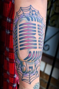traditional microphone tattoo