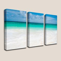 Beach Decor, GICLEE Canvas Art, Photography, Decorations, Turquoise, Caribbean, Beach, Sand, Waves, Barbados, Coastal, Triptych, Home Decor by JoelleJoy on Etsy https://www.etsy.com/listing/48018166/beach-decor-giclee-canvas-art