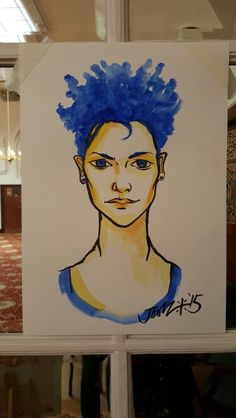Sapphire. Sketch from Rebellion Punk Festival where I'm Artist In Residence. #blue #girl