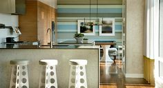 love mixed stripe for Lo's room!! -   Frank Roop: Modern kitchen + blue + gray + stripes, wall stripe